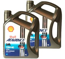 Shell aanbieding: 2 x Advance 4T Ultra 10W40 4L