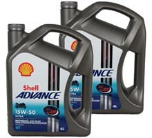 Shell aanbieding: 2 x Advance 4T Ultra 15W50 4L