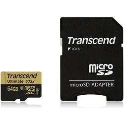 Transcend 64 GB microSDHC-kaart Class 10, UHS-I, UHS-Class 3 incl. SD-adapter