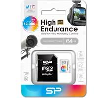 Silicon Power High Endurance MLC Micro SDHC incl. SD Adapter 64GB UHS-1 Class 10 Color